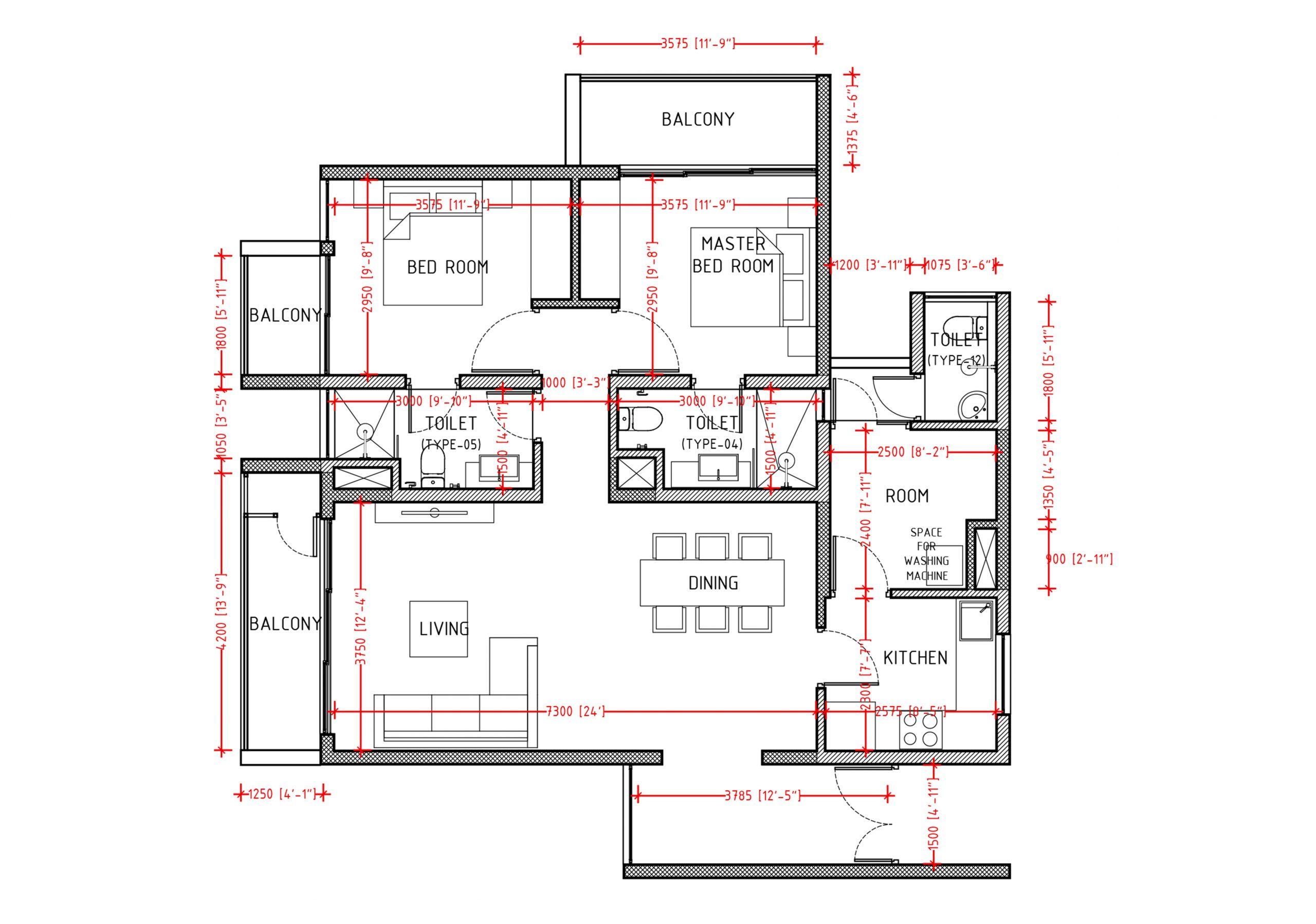 2+1 (BHK) 1160sqft  Floor Plan