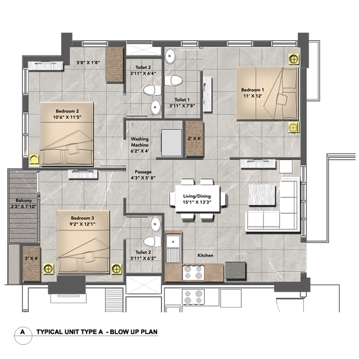 One Central Park Apartment Type (A)